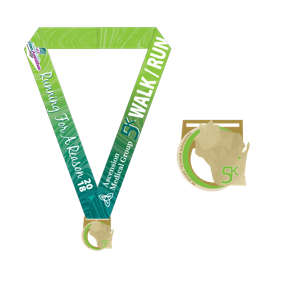 5k run/walk green medal.