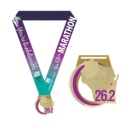 purple and tea marathon medal.