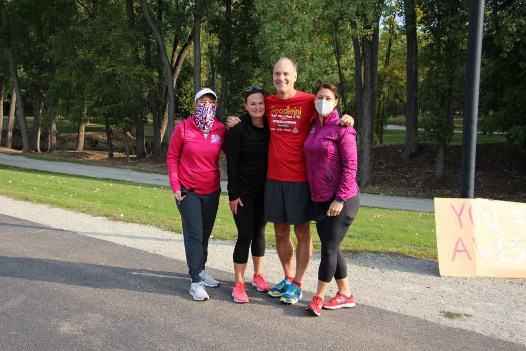 Cheering on one of our board members on a run at Fritse Park in Fox Crossing.